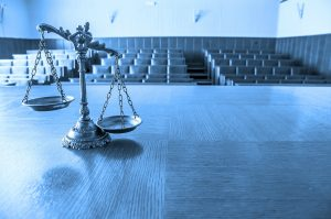 courtroom with justice scale