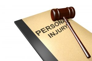 personal injury folder and gavel
