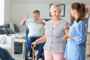 Old people with nurse